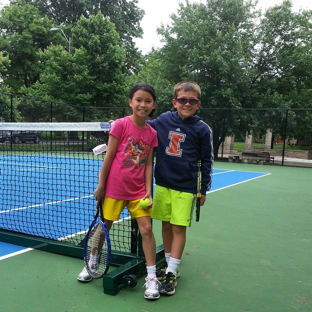 """First """"customers"""" on the newly renovated Arbor Villa Park Tennis Court. #KCParks"""