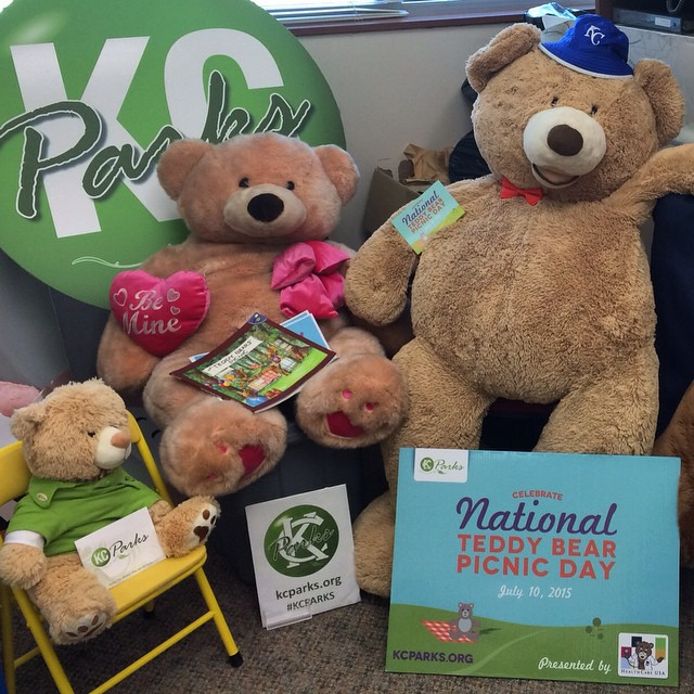 #BigTeddyBear and friends are hanging out at the #KCParks office eagerly awaiting #TeddyBearPicnicKC on July 10 at the Kansas City Museum.