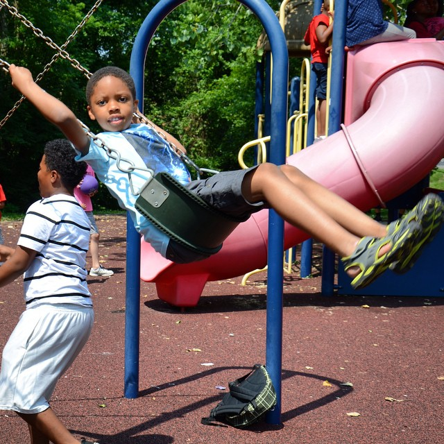 Swing! Having some fun at #KCParks Summer Enrichment Camp. #swing #playground #camp