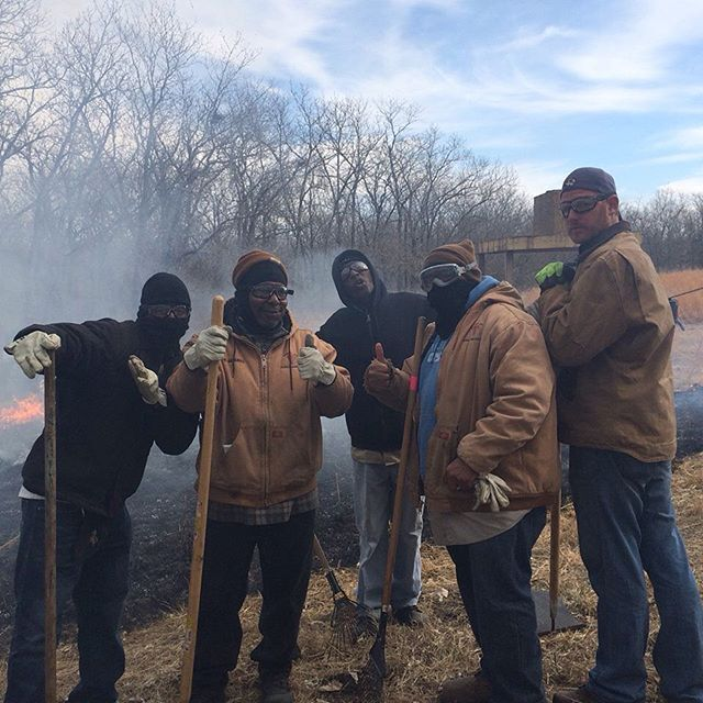 #KCParks crews at prairie fire burn in Jerry Smith Park.