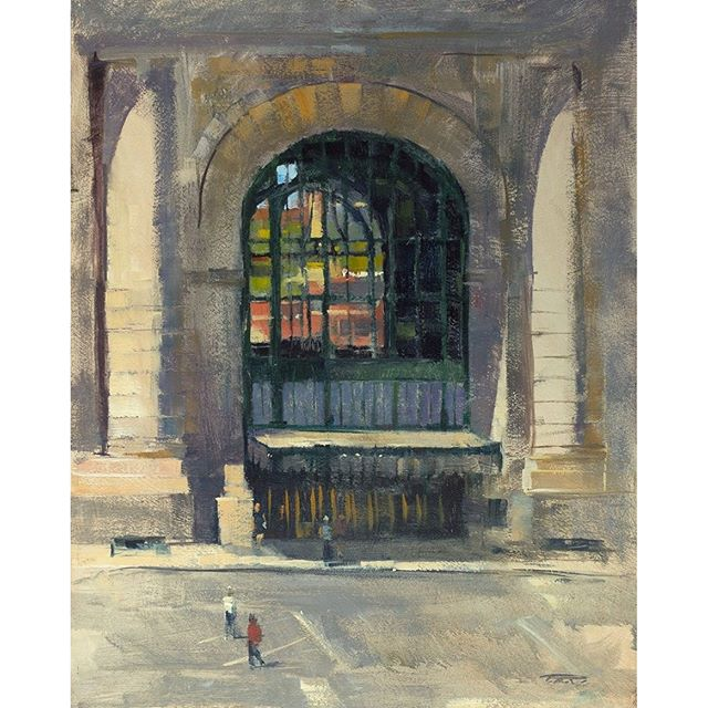 "Patrick Saunders' ""The View Through Union Station"" (oil on panel, 14""x18"") of Union Station Kansas City Inc. was awarded Best in Show at the Penn Valley Park 2016 Plein Air Fest. Congratulations! #KCParks #PleinAirKC #pleinair #pleinairpainting  @pennvalleypark @unionstationkc"