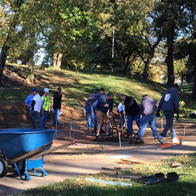 #KCParks crews and volunteers laying the foundation for the #KaBoom! playground build this Wednesday in Hyde Park. #PlayMatters