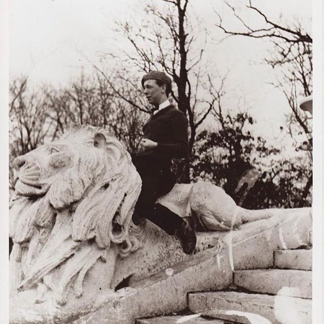 Happy Birthday #WaltDisney! Here is a picture of Walt on the Swope Memorial lion located in #KCParks Swope Park taken in 1922. #HappyBirthdayWaltDisney