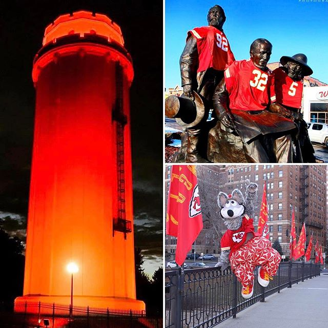#KCParks is cheering for our #KCChiefs! #WaldoWaterTower #ThePioneers in Westport (photo by Ruben Gusman) and #KCWolf and #ChiefsKingdom flags on the Sister Cities Bridge at the Country Club Plaza. #GoChiefs #nflplayoffs2017i