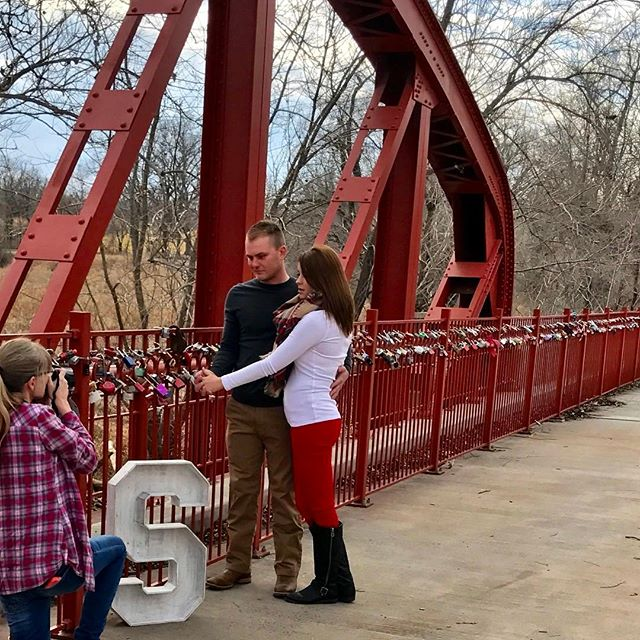 Engagement photo shoot on #KCParks Old Red Bridge in Minor Park. #RedBridgeLoveLocks #LoveLocks #ValentinesDay ️
