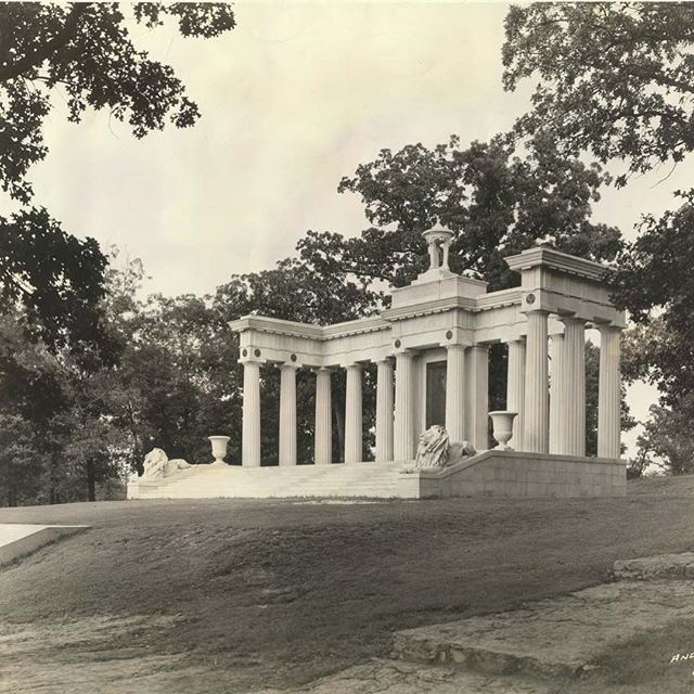 {Throwback Thursday} #KCParks125 #TBTTHOMAS SWOPE MEMORIAL AND CRYPT: Thomas Swope had expressed an interest in being buried in Swope Park. After his death in 1909, his body was kept in a holding vault at Forest Hill Cemetery until a memorial was built. A committee chose the site high on a hill overlooking the entire park. Mr. Swope's body was placed in the memorial in 1918.The memorial appears to be based on a design drawn by George Kessler in 1915. The lions and decorative bronze were done by Charles Keck, the former President of the National Sculpture Society. The fountain and balustrade were completed in 1922 – 1923, designed by the Wight and Wight architectural firm. S. Herbert Hare, landscape architect, designed the stone portal at the bottom of the hill and the stairs going up the hill in 1931.Carved on the stone of the memorial are the words (in Latin):Reader If You Would See His Monument Look About You. #KCParks #ThrowbackThursday