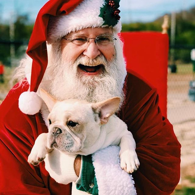 Santa visited #KCParks Waggin' Trails Dog Park today for Kris Kringle &K-9s, a partnership with NKC.
