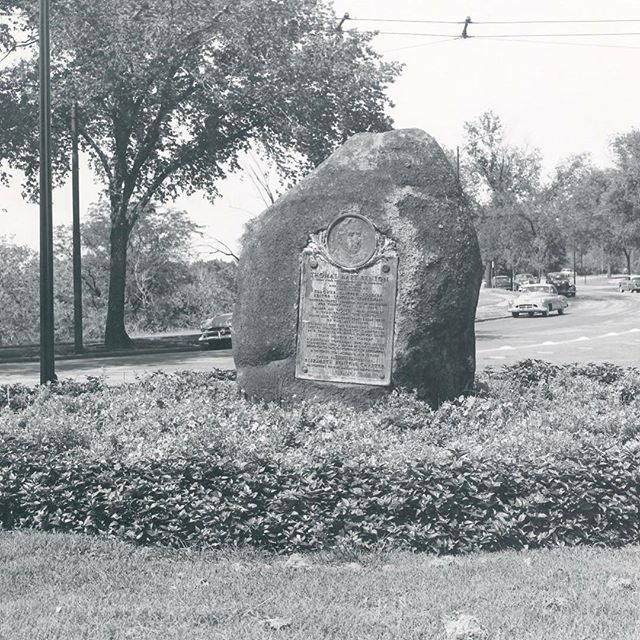 {Throwback Thursday} The Thomas Hart Benton monument at the intersection of St. John Ave., Gladstone and Benton Boulevards on the Concourse, was dedicated to Senator Thomas Hart Benton, not to his great-nephew, the artist of the same name. At present, the two plaques associated with the monument are not on the rock upon which they were placed in 1915. One of the plaques was stolen a few years ago and the other, the one shown in the photograph, is in the office of Kansas City Parks and Recreation. Plans are to clean and reinstall the plaque held by KCPR and to replicate the stolen plaque and install it.Senator Thomas Hart Benton (1782-1858) represented the state of Missouri in the United States Senate from 1821 (the year that Missouri became a state) until 1851 and served one term in the United States House of Representatives from 1853 until 1855. In the late 1800s and early 1900s, the Senator was held in high regard for seeing the potential of westward expansion. More specific to the Kansas City area, a speech that he made in 1852 was something very well known in the Kansas City area when his monument was proposed by a local Daughters of the American Revolution chapter in 1913.The Thomas Hart Benton monument was erected through the efforts of Mrs. H. J. S. Seely and a committee of the Elizabeth Benton Chapter of the DAR.  Local architect John Van Brunt designed the memorial and plaques, and the bronze plates were made by John Williams & Co. of New York. It was dedicated on Nov. 20, 1915. In 1852 while standing on a rock near the Missouri River bluffs on the north side of the Missouri River, Senator Benton's prediction for the future of what is now Kansas City was:  Here where these rocky bluffs meet and turn aside the sweeping current of this  mighty river; here where the Missouri, after pursuing her southern course for nearly  two thousand miles, turns eastward to meet the Mississippi, a great manufacturing  and commercial community will congregate and less than a generation will see a great  city. Benton Boulevard was also named after Senator Benton. #KCParks125 #TBT #FromTheArchives