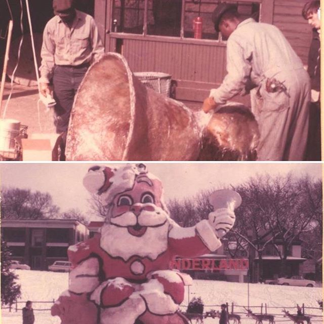 {Throwback Thursday} Although Santa's Wonderland premiered in the park area off Gillham Road, south of 39th Street in 1964 the big Santa many people remember did not make his debut until 1967.  Designed by Park Department employee Vernon Jones, who later designed figures for the popular Penguin Park in Kansas City North, the creation of Santa and the other figures at Santa's Wonderland were a team effort. The top picture is of the giant bell later held by Santa with Park Department workers. The bottom picture is of Santa holding the bell. #KCParks125 #TBT 🏻 🛎 #throwbackthursday #santa #SantasWonderland