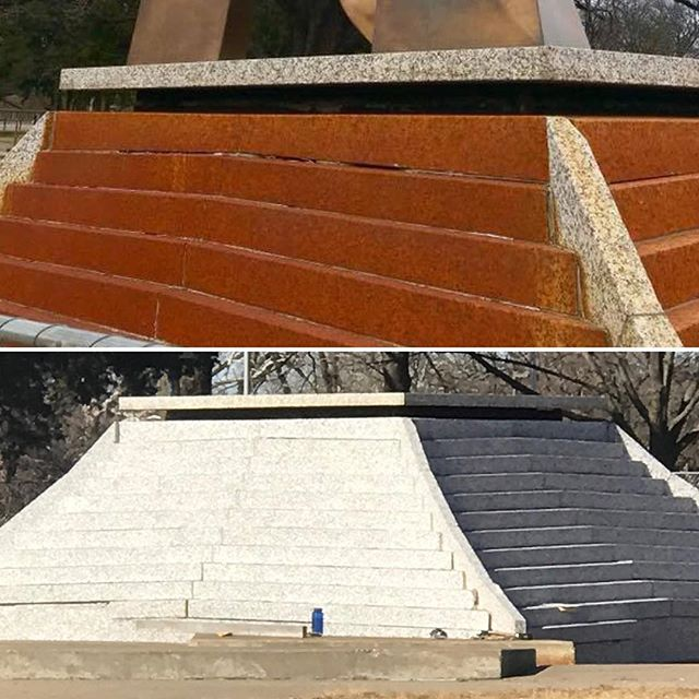 Before/After. A good cleaning can work wonders! Spirit of Freedom Fountain's pedestal base gets a power wash. Check out KSHB Channel 41  tomorrow morning for an update on #GOkc funded Spirit of Freedom and Haff Fountain renovations in preparation for #FountainDay2018 on April 10! #CityOfFountains #KCParks #beforeandafter