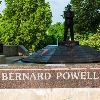"Our #WhatsThatWednesday photo is of the Bernard Powell Memorial Fountain in #KCParks Spring Valley Park. #BlackHistoryMonth #WTW Installed: 1985Sculptor: Eugene Bortner..Mr. Powell (1947-1979) worked for civil rights in the 1960s and later helped establish a group to promote job training for black youth, leadership skills and job opportunities as well as encouraging neighborhood beautification with the theme of ""Ghetto or Goldmine – the Choice is Yours!"" The statue was placed in Spring Valley Park across the street from the Powell family home."