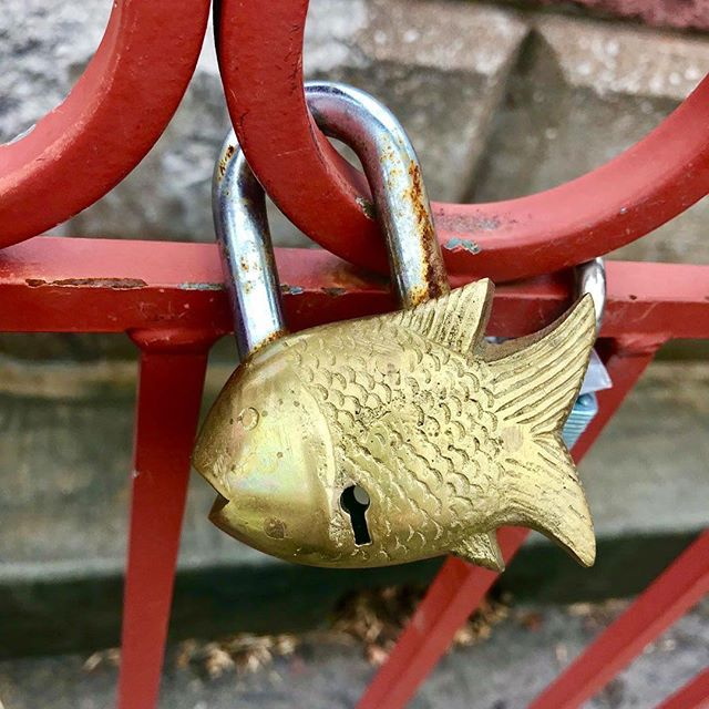 {Countdown to Valentine's Day:14 Days of Love Locks} DAY 4:#KCParks is featuring unique locks from the Old Red Bridge in Minor Park each day through Valentine's Day. #RedBridgeLoveLocks #LoveLocks #ValentinesDay2018 #LoveKC #Fish #FishLock #SeaOfLove