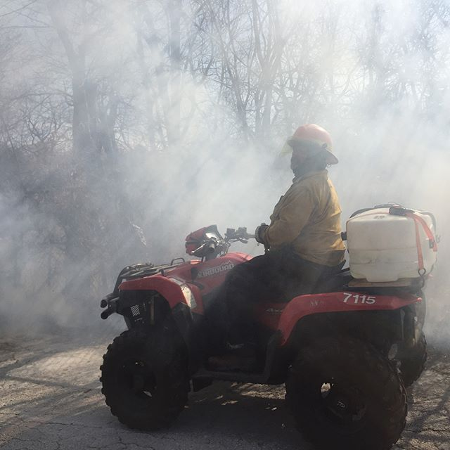 Controlled burn in #KCParks Roanoke Park on Tuesday.