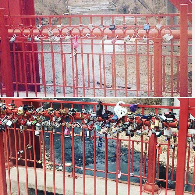 #ThrowbackThursday The same section of #RedBridgeLoveLocks in 2014 and 2018. #KCParks #FiveYearsOfLoveLocks #BeforeAndAfter #TBT #ValentinesDay #ValentinesDay2018 #LoveLocks #LoveKC #SouthKC ️