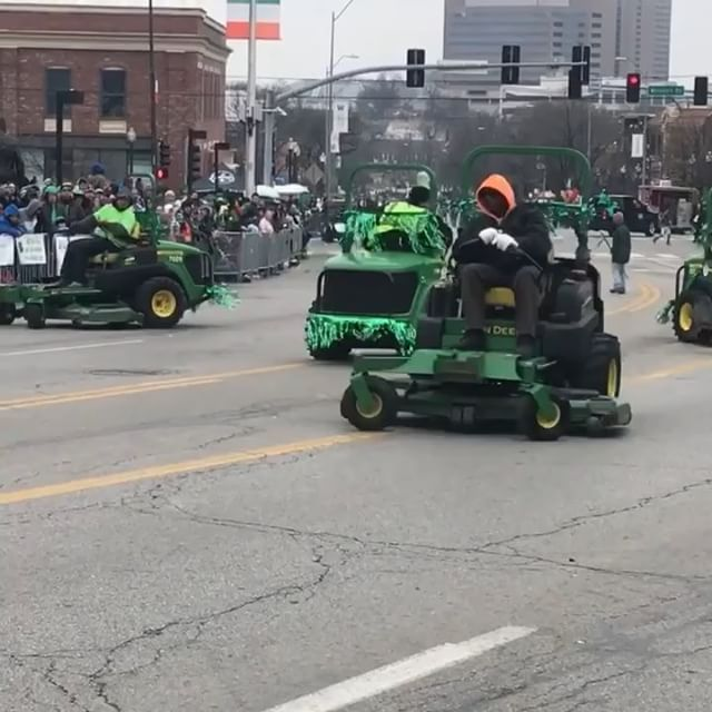 So proud of #KCParks Lawn Mower Drill Team in today's @kcirishparade #Lucky13