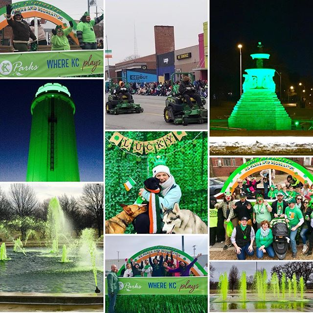 #KCParks has had the best time celebrating #StPatricksDay2018 over the past two weeks~three parades, two green dyed fountains, two lighted monuments, dog park party and the debut of our Lawnmower Drill Team!! #beststpatricksdayever #WhereKCPlays #CityOfFountains #LuckyDogs #KCLawnRangers