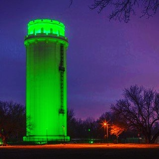 The Waldo Water Tower in #KCParks is lit green this week in celebration of #StPatricksDay  Photo via TreanorHL