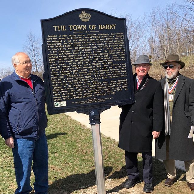 "Native Sons and Daughters of  Greater Kansas City dedication of three markers in one location. The markers are ""The Town of Barry"", ""Liberty to Leavenworth Road"" and ""The Old Western Border of the United States"". Some of the earliest history in the entire Kansas City area. #KCParks"