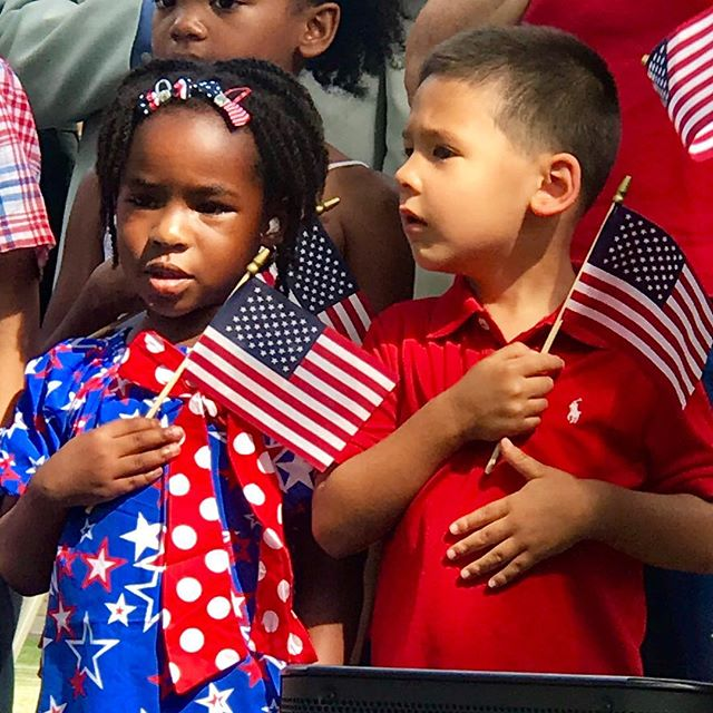 #FlagDay  in Washington Square Park #KCParks #starsandstripes #redwhiteandblue