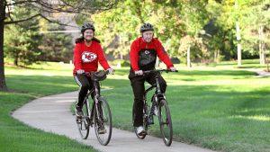 Seniors Biking in the park