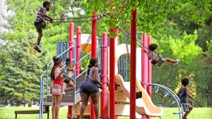 Kids on the Swings and Slides playing at Holmes park