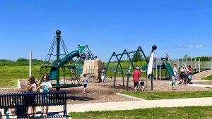 Kids playing on park playground