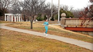 Girl jogging in Kansas City