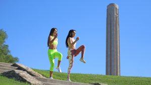 Girls exercising on memorial hill