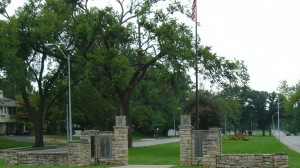 Meyer Avenue of Trees Entrance & Flagpole S View