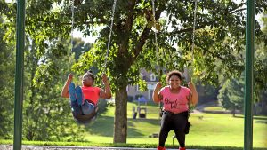 Kids on the swings in the park