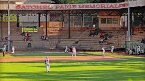 People playing baseball at Satchel Paige Memorial Stadium