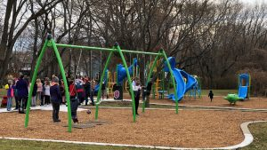 Kids on Slides and Swings at fox hill