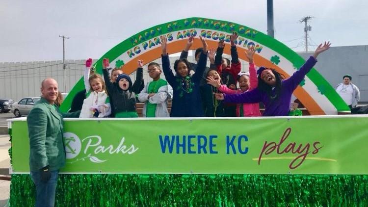 Individuals celebrating St. Patrick's Day at KC parks