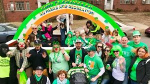 Individuals celebrating St. Patrick's Day