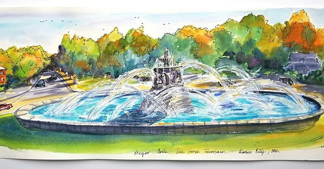 "This beautiful original panoramic painting of the Sea Horse fountain at Meyer Circle Kansas City, MO. 9""x24"" framed, created at the rededication day by local artist Lizett Vargas is available for sale. It would make a great Christmas present for the Fountain lover in your life! Support #PleinAirKC artists and our #CityOfFountains https://www.etsy.com/listing/560118914/original-panoramic-painting-of-sea-horse#"