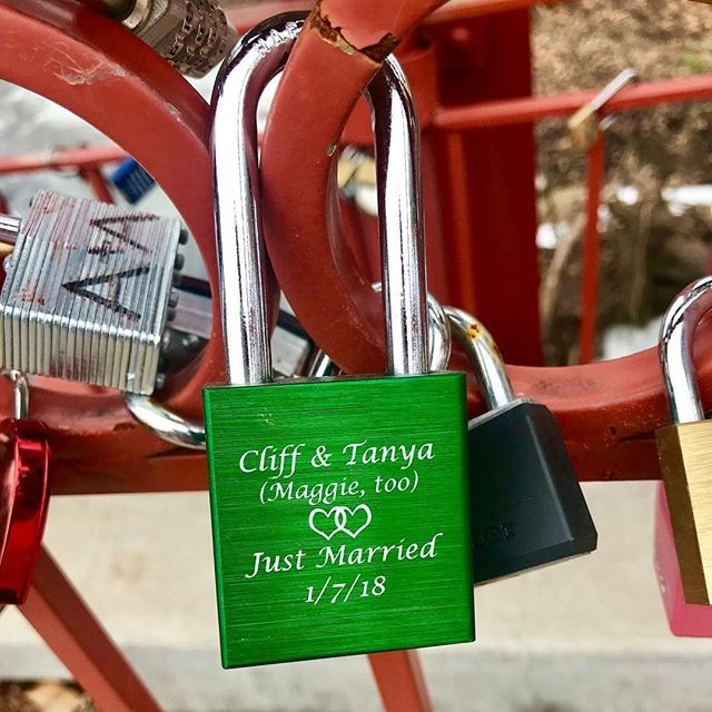 {Countdown to Valentine's Day: 14 Days of Love Locks} DAY 5: #KCParks is featuring unique locks from the Old Red Bridge in Minor Park each day through Valentine's Day. #RedBridgeLoveLocks #LoveLocks #ValentinesDay2018 ️