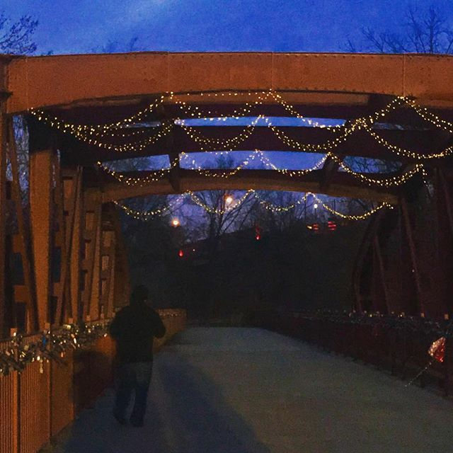 Twinkle lights on the Old Red Bridge in Minor Park. #RedBridgeLoveLocks #KCParks #FiveYearsOfLoveLocks #ValentinesDay2018 #ValentinesDay #LoveLocks #LoveLove #SouthKC #LoveKC