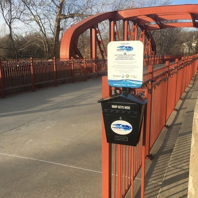 Show some love for the Blue River and the environment by tossing your key in our drop boxes after you lock your love on #KCParks Old Red Bridge. Your donated keys will be used to create a sculpture of the iconic monarch butterfly that travels through Kansas City on its amazing multi-generational migration. #RedBridgeLoveLocks #RenewTheBlue #LoveLocks ️🦋
