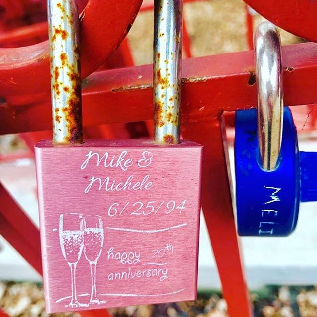 {Countdown to Valentine's Day:14 Days of Love Locks} DAY 6: #KCParks is featuring unique locks from the Old Red Bridge in Minor Park each day through Valentine's Day. #RedBridgeLoveLocks #LoveLocks #ValentinesDay2018 #LoveKC #ValentinesDay ️ #AnniversaryLock