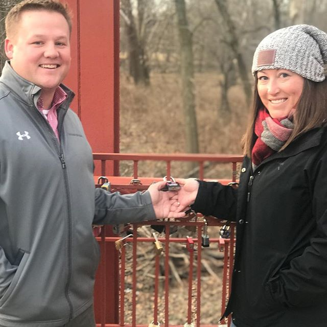 Caught this cute couple locking their love on #KCParks Old Red Bridge in Minor Park this morning! #LaciAndEric #RedBridgeLoveLocks #FiveYearsOfLoveLocks #ValentinesDay #ValentinesDay2018 #LoveLocks ️