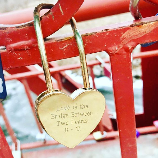 {Countdown to Valentine's Day:14 Days of Love Locks} DAY 7:#KCParks is featuring unique locks from the Old Red Bridge in Minor Park each day through Valentine's Day. #RedBridgeLoveLocks #LoveLocks #ValentinesDay2018 #LoveIsABridge #TwoHearts