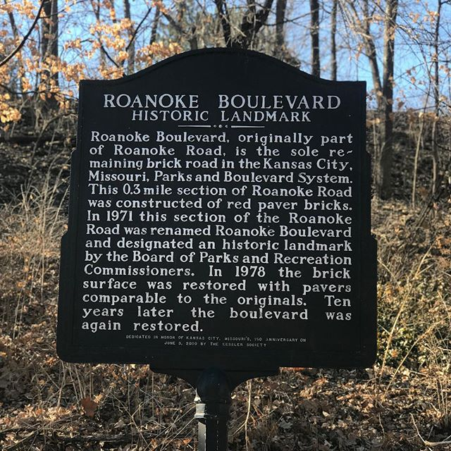 Our #WhatsThatWednesday is Roanoke Boulevard, a .3 mile section of Roanoke Road between Karnes Blvd. and Valentine Rd. It is the sole remaining brick road in the #KCParks system. #WTW
