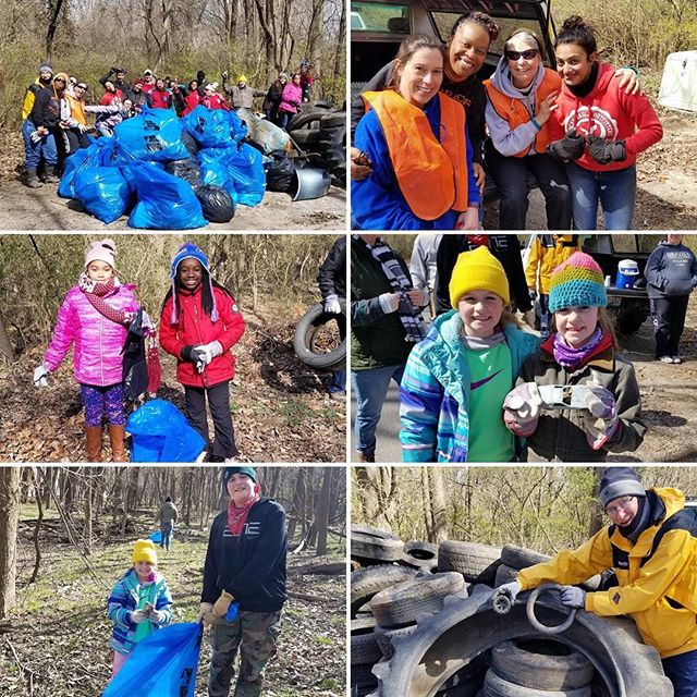 Thank you to all of the great volunteers who braved the cold to help clean up the Blue River in Swope Park. We ️ #KCParks volunteers! #SoManyTires #PBRR28