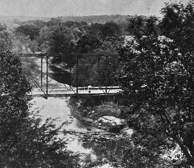 "#ThrowbackThursday circa 1915 Blue River at the Rapids on Old Westport & Independence Road (""Santa Fe Trail"") Crossing. Help clean up the Blue River this Saturday at Project Blue River Rescue. #TBT #PBBR28 #KCParks"