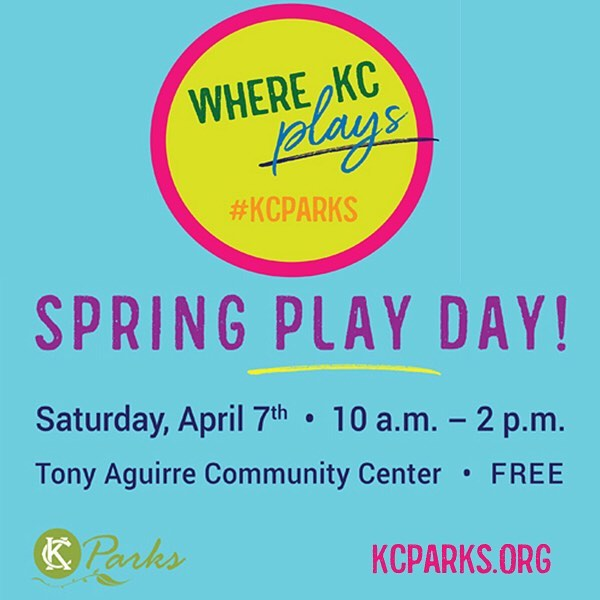 Join KC Parks for a play date!View this email in your browserKC Parks Spring Play Day!Saturday, April 710 a.m.-2 p.m.Tony Aguirre Community Center, 2050 W PennwayFree Admission & ActivitiesWant to see what KC Parks Community Centers are all about? Tony Aguirre Community Center is hosting an open house festival where you can try out boot camp, sample a cooking class, try your hand at one of our art classes and more. We'll have games, crafts, and activities for the kids while you learn everything all 10 of our centers have to offer. This is your chance to play with KC Parks!