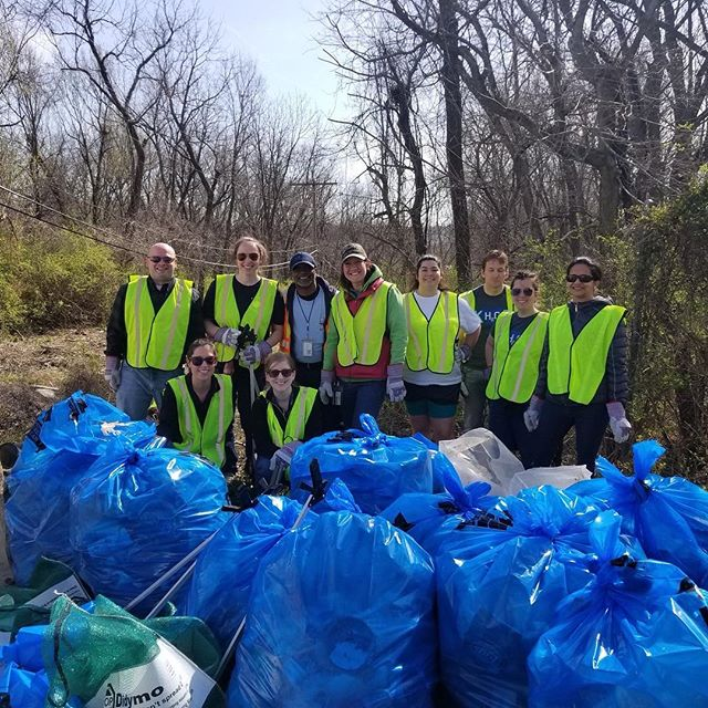 #KCParks and KC Water employees picked up more than 2,400 lbs. of trash at our Swope Campus #EarthDay cleanup!