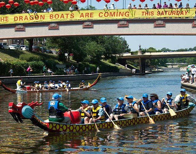 The Dragon Boats are coming! 14th Annual Kansas City International Dragon Boat Festival this Saturday, June 9, 10 a.m.-3 p.m.Brush Creek on the Country Club Plaza, Ward Parkway and JC Nichols Parkway #DragonBoats #BlazingPaddles #KCParks #WhereKCPlays 🐉 🚣‍♀️