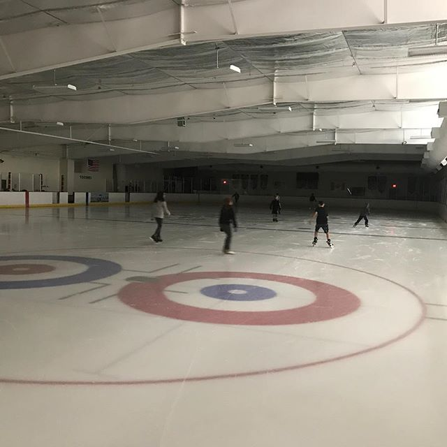 Ice skating in the dark at Line Creek Ice Arena during  #DaylightHour #KCParks
