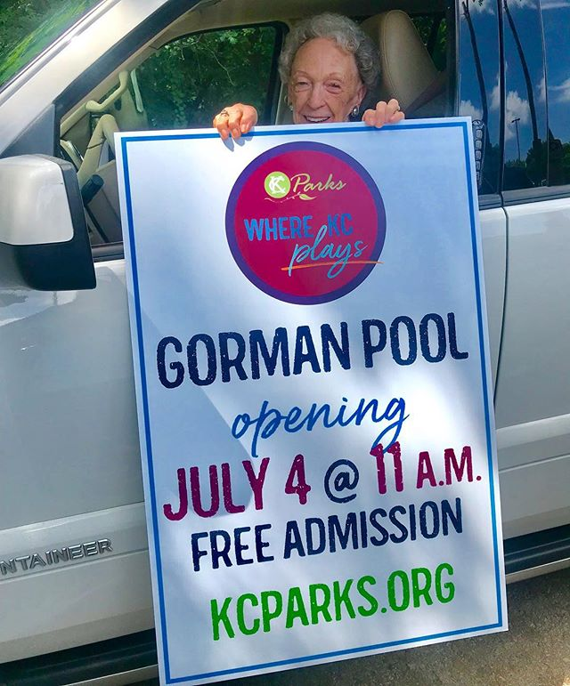 Putting up #OpeningDay signs at Gorman Pool and ran into #TheMrsGorman #July4 #KCParks #WhereKCPlays ♂️  Sent from my iPhone