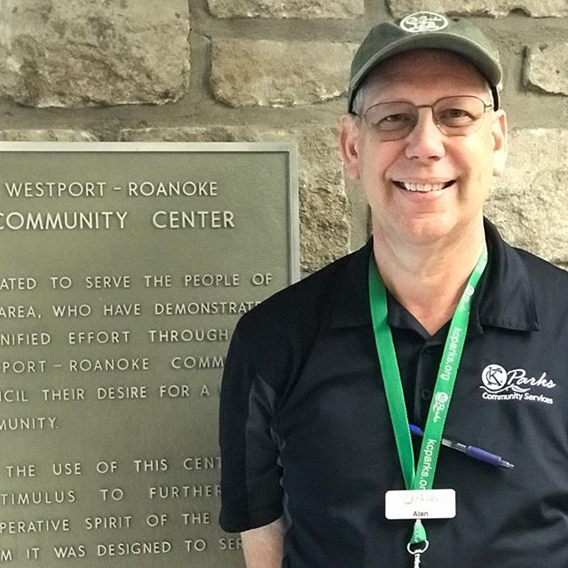 "During Park and Recreation Month we are focusing on our employees by featuring a #PlayerOfTheDay each day of July. #DiscoverJuly #KCParks #WhereKCPlaysAlan Schmelzle, Supervisor of Recreation-Director at the Westport Roanoke Community Center, 13 years with KC Parks ""I enjoy working for KC Parks because I am proud of what we do. We contribute in so many positive ways to make Kansas City a great place to live. We have a direct impact on making our community beautiful, fun, exciting, safe, and healthy.  And, we don't do this alone. We work with amazing organizations and individuals who have the same desire.  One of my favorite quotes: 'How wonderful it is that nobody need wait a single moment before starting to improve the world'~Anne Frank."""
